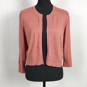 Loft Peach Salmon Pink Open Front Cardigan